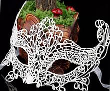 Карнавальная ажурная маска белая женская