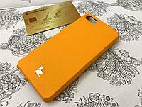 Кожаная накладка чехол бампер для Apple iPhone 5 / 5S / SE жёлтый