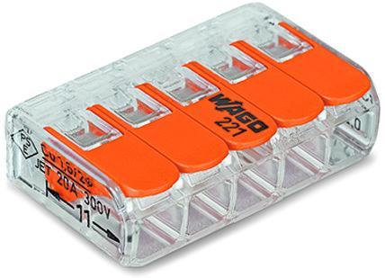 Компактная соединительная клемма COMPACT для всех типов проводников 5-проводная с рычагами