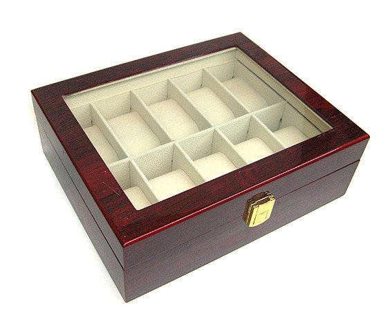 Шкатулка для хранения часов деревянная на 10 ячеек Rothenschild