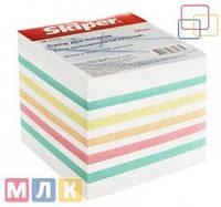 Skiper Блок бумаги для записей Микс цветной, 90 мм*90 мм, 900 листов, неклеенный, в индивидуальной упаковке