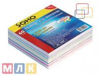 Soho Блок бумаги для записей Микс цветной, 85мм*85 мм, 300 листов, неклеенный, в индивидуальной упаковке