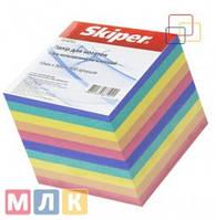 Skiper Блок бумаги для записей Классика цветной, 90 мм*90 мм, 900 листов, неклеенный, в индивидуальной упаковке