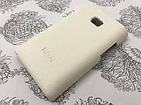 Кожаный чехол накладка бампер Kuboq для LG E400 Optimus L3 белый