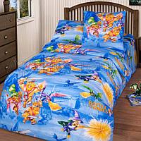 Подростковое полуторное постельное белье простынь на резинке 90*200*25-Легендарные подвиги,бязь ГОСТ
