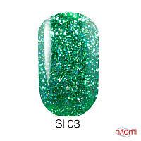 Гель-лак Naomi Self Illuminated SI 03, 6 мл зеленый с блестками и слюдой, плотный