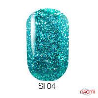 Гель-лак Naomi Self Illuminated SI 04, 6 мл  бирюзовый с блестками и слюдой, плотный