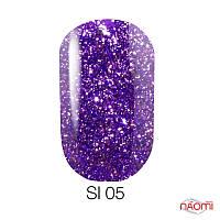 Гель-лак Naomi Self Illuminated SI 05, 6 мл фиолетовый с блестками и слюдой, плотный