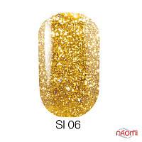 Гель-лак Naomi Self Illuminated SI 06, 6 мл желтое золото с блестками и слюдой, плотный