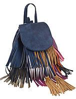 554118 Сумка-рюкзак синя з бахромою