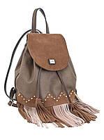 554119 Сумка-рюкзак коричнева з бахромою