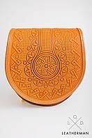 Кожаная женская сумка, оранжевая сумочка, сумка через плечо