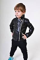 Детская кожаная куртка, эко кожа, на мальчика, 92 - 116 см. Весна 2017
