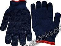 Перчатки рабочие синтетика синяя с пвх покрытием