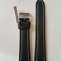 Кожаный ремень Stailer- гладкий  из натуральной кожи с белой прошивкой на два заужения с нубуковой подкладкой