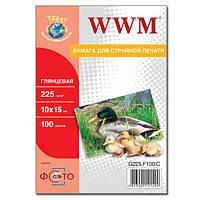 Фотобумага WWM, глянцевая, 225 г/м2, A6 (10х15), 100л (G225.F100/C)