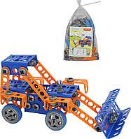 """Конструктор """"Изобретатель"""" - """"Трактор-погрузчик №1"""" (141 элемент) (в пакете), Полесье"""