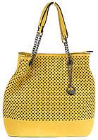 Яркая вместительная женская сумочка с перфорацией на лицевой части art. 824 желтая
