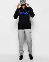 Трикотажный спортивный костюм FILA Фила черный с серыми штанами (большой принт)