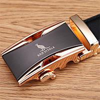 Ремень мужской кожаный Sunvitale с пряжкой автомат (золото)