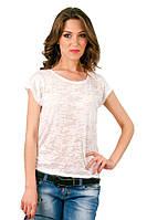 Белая футболка женская без рисунка летняя легкая с коротким рукавом  вискоза трикотажная (Украина)