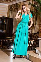 Женское батальное мятное  платье на запах, короткий рукав . Арт-2192/57