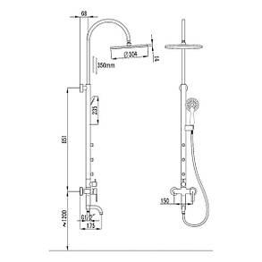 Imprese NAHORU душевая система  (смеситель для ванны, верхний и ручной душ, 4 режима, шланг 1,5м), фото 2
