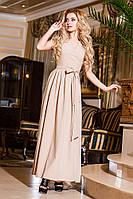 Женское батальное бежевое  платье на запах, короткий рукав . Арт-2192/57