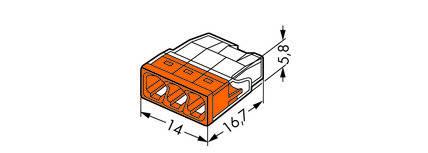 Соединитель WAGO COMPACT PUSH WIRE® для распределительных коробок, 3-проводная клемма, фото 2