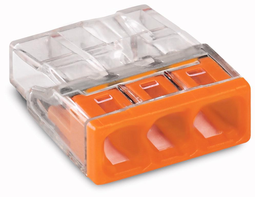 Соединитель WAGO COMPACT PUSH WIRE® для распределительных коробок, 3-проводная клемма