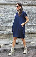 Платье бохо, боченок, с карманами из натурального льна. Высокий рост, нестандартный размер