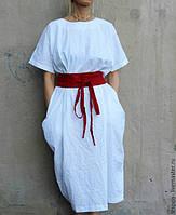 Платье бохо с поясом , боченок, с карманами из натурального льна. Высокий рост, нестандартный размер , фото 1