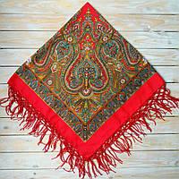 Стильна українська хустина червоного кольору з орнаментом (125х125см, червоний, 100%-акрил), фото 1