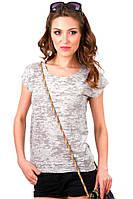 Серая футболка женская без рисунка летняя легкая с коротким рукавом  хлопок 100% трикотажная (Украина)