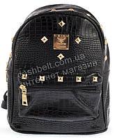 Стильная женская маленькая лаковая сумка-рюкзак под рептилию  art. 635 черный лак