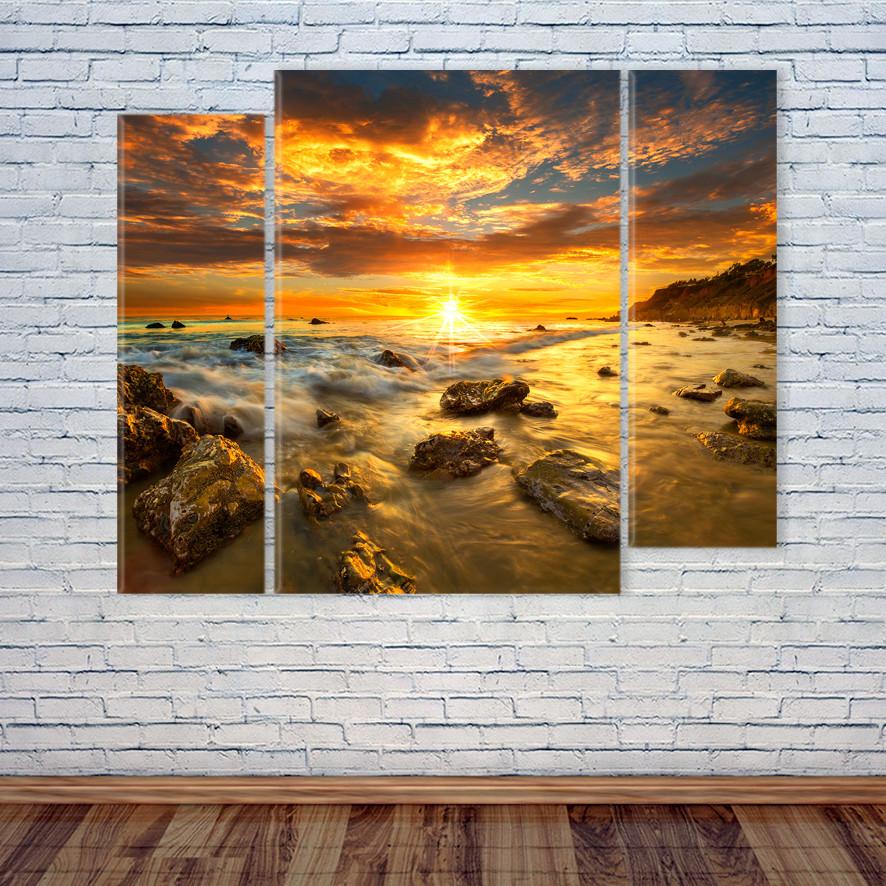 """Модульная картина """"Закат над океаном.Калифорния"""""""
