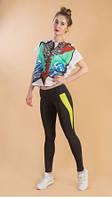 """Женские спортивные лосины, брюки, леггинсы """"Воздух""""код 1202(2) с желтыми вставками"""