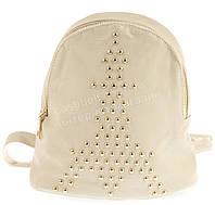 Стильная женская маленькая светло бежевая сумка-рюкзак с заклюпками  art. D167