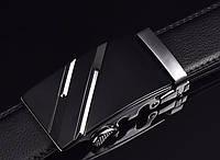 Ремень мужской классический кожаный с пряжкой автомат (серебро)