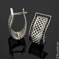 Женские серебряные Серьги Сетка