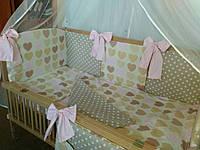 """Детский постельный комплект без балдахина 7 в 1 """"Сердечки цветные"""""""
