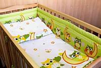 """Детский постельный комплект для новорожденного """"Совушки салатовый"""""""