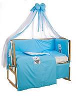 """Детский постельный комплект с вышивкой Bepino """"Мишка в тельняшке"""" голубой"""