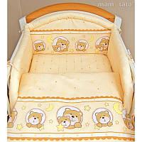"""Детский постельный комплект с защитой """"Мишка в круге бежевый"""""""