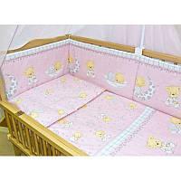 """Детский постельный комплект с защитой """"Мишка на месяце розовый"""""""