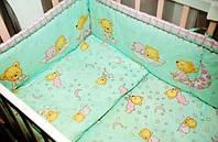 """Детский постельный комплект с защитой """"Мишка на месяце салатовый"""""""