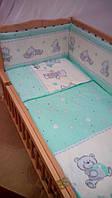 """Детский постельный комплект с защитой """"Мишки игрушки бирюзовый"""""""