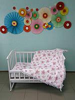 """Одеяло и подушка в детскую кроватку """"Веточка розы"""", плюшевый"""