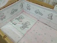 """Защита для детской кроватки """"Мишки игрушки розовый"""""""