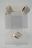 Оригинальный женский гарнитур - кольцо и серьги - из  серебра с фианитами
